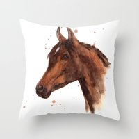 Watercolor HORSE painting, horses, hore art, stallion Throw Pillow