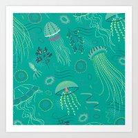 Into The Deep Jellies - … Art Print