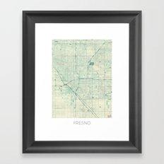 Fresno Map Blue Vintage Framed Art Print