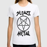 SLEAZE METAL Womens Fitted Tee Ash Grey SMALL