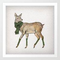 deer Art Prints featuring Deer by David Fleck