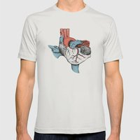 The Heart of Texas (Red, White and Blue) Mens Fitted Tee Silver SMALL