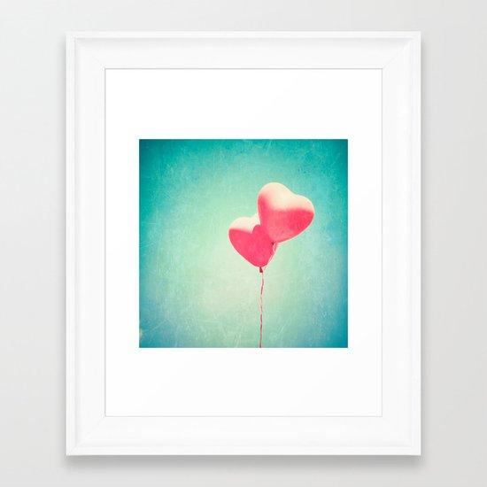 Red Hearts Go Flying Framed Art Print