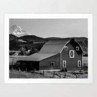 Barn in Hood River Valley, with Mount Hood Art Print