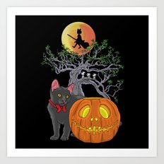 Cat Halloween Girls Art Print