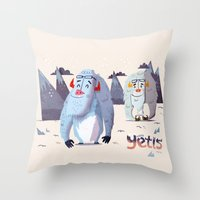 :::Happy Yetis::: Throw Pillow