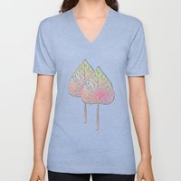 Abstract Leaves Pattern Unisex V-Neck