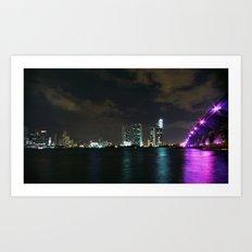 Miami night skyline Art Print