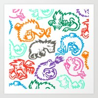 Crayon Love: Dragons Art Print