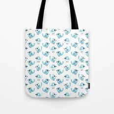 Happy Blue Birds Pattern Tote Bag