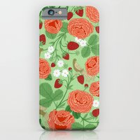 iPhone & iPod Case featuring Roses and strawberries on green by Yuliya