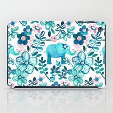 Dusty Pink, White and Teal Elephant and Floral Watercolor Pattern iPad Case