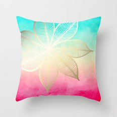 Gold Flower on Turquoise & Pink Watercolor Throw Pillow