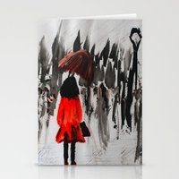 The Girl In The Red Rain… Stationery Cards