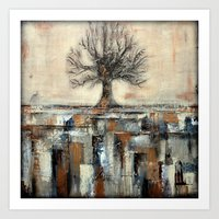 Tree In Brown And Gold T… Art Print