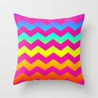 Rainbow Zig - Zag Throw Pillow