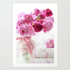 Romantic Pink and Red Peonies Art Print
