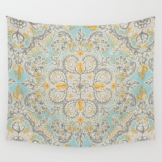Gypsy Floral In Soft Neutrals Grey Amp Yellow On Sage Wall