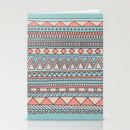 Tribal #4 (Coral/Aqua) Stationery Card