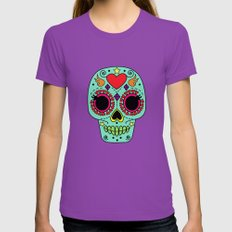 Sugar Skull {Teal} / Day of the Dead Womens Fitted Tee Ultraviolet SMALL