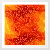 Red Stylized Wave Pattern Art Print