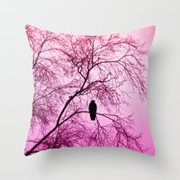The Sentinal ~ Pink Abstract Throw Pillow