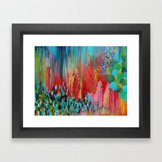 REVISIONED RETRO - Bright Bold Red Abstract Acrylic Colorful Painting 70s Vintage Style Hip 2012 Framed Art Print