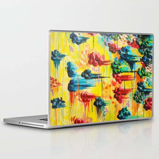 HERE COMES THE RAIN - Abstract Acrylic Painting Rain Storm Clouds Colorful Rainbow Modern Impasto Laptop & iPad Skin