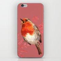 Winter Herald, Robin, Robin Redbreast, Christmas Bird iPhone & iPod Skin