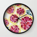 Sliced Grapefruits Watercolor Wall Clock