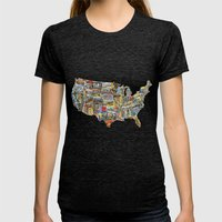 Greetings From Womens Fitted Tee Tri-Black SMALL