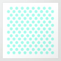 Mint Polka Dots Art Print