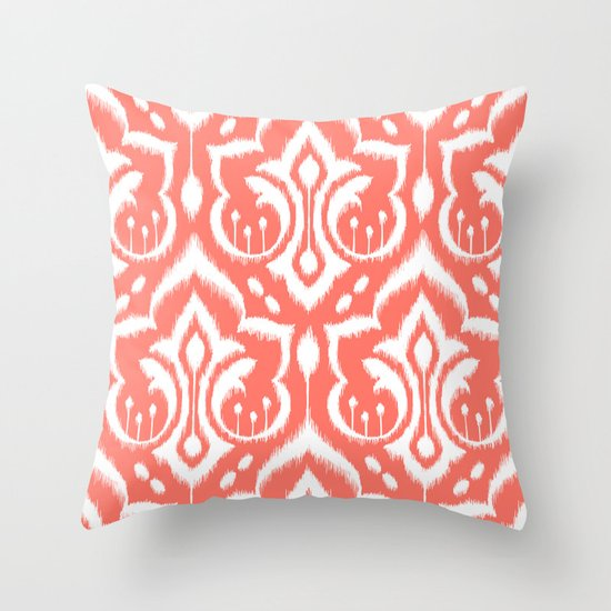 Ikat Damask Coral Throw Pillow