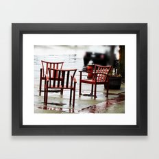 Chairs Arranged in the Rain Framed Art Print