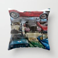 Vintage Soap Box Cars Throw Pillow