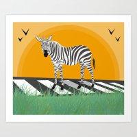 zebra Art Prints featuring Zebra by Nir P