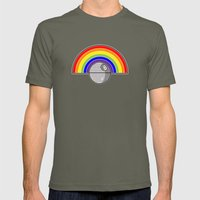 Death Star Rainbow Mens Fitted Tee Lieutenant SMALL