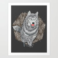 Husky in Winter Art Print