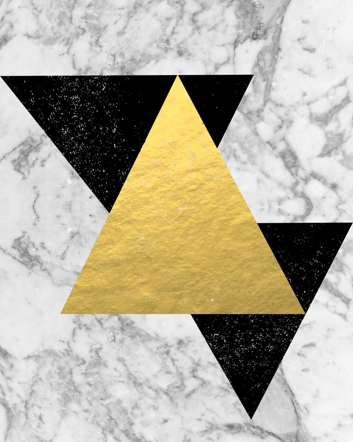 Gold And White Marble : Marble tri black gold foil