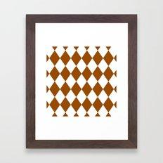 Diamonds (Brown/White) Framed Art Print