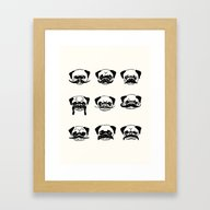 Moustaches Of The Pug Framed Art Print