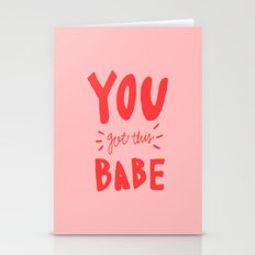 You got this babe - pink and red hand lettering Stationery Cards