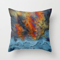 Diagonal Rainbow Redux Throw Pillow