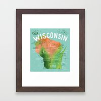 Wisconsin Map Framed Art Print