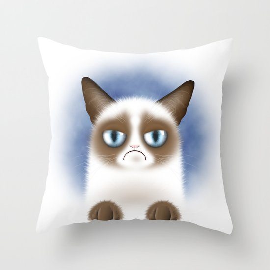 Nope (Grumpy Cat) Throw Pillow
