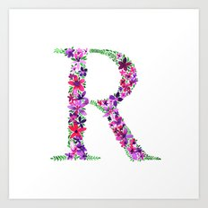 Floral Monogram Letter R Art Print