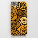 Romantic Yellow roses with black outline iPhone & iPod Case