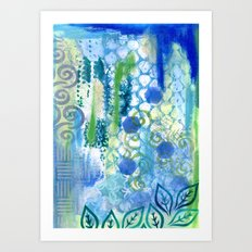 In amongst the blues and greens Art Print