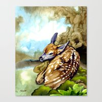 Fawn Parked In The Trees Canvas Print
