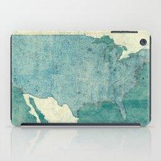 United States Of America Map Blue Vintage iPad Case